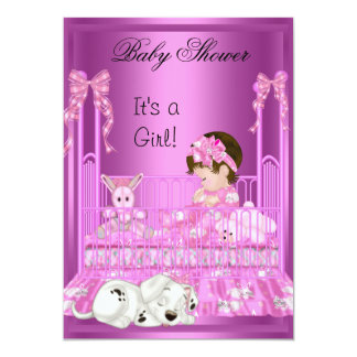 Cute Baby Shower Girl Pink Cot Puppy Toys 5x7 Paper Invitation Card