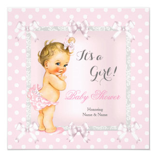 Cute Baby Shower Girl Pink Gray Blonde Card