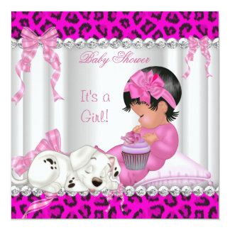 Cute Baby Shower Girl Pink Leopard Cupcake 2 5.25x5.25 Square Paper Invitation Card