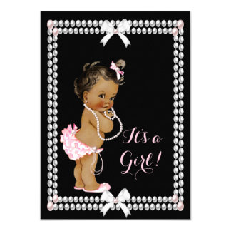 Cute Baby Shower Girl Pink Pearls Black Ethnic 4.5x6.25 Paper Invitation Card