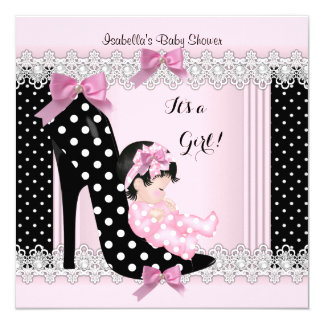 Cute Baby Shower Girl Pink Polka Dots High Heel 6a 5.25x5.25 Square Paper Invitation Card