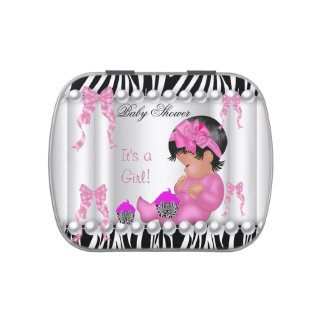 Cute Baby Shower Girl Pink Zebra cupcake 2 favor Jelly Belly Candy Tin