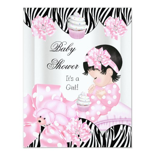 Cute baby shower girl pink zebra cupcake card zazzle for Pink and zebra bathroom ideas