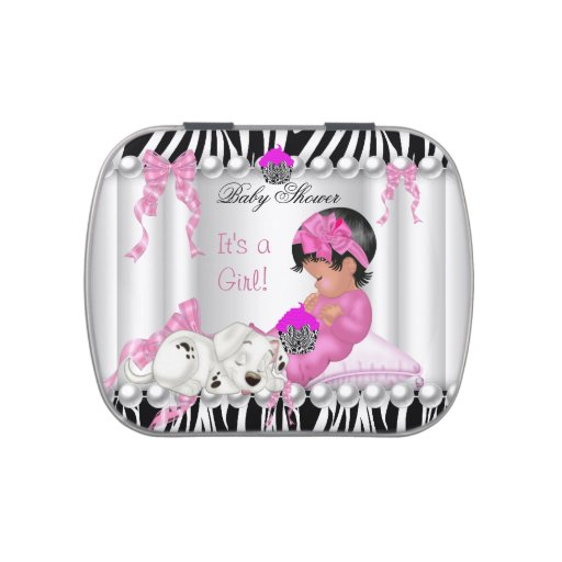 Cute baby shower girl pink zebra cupcake favor jelly belly for Pink and zebra bathroom ideas