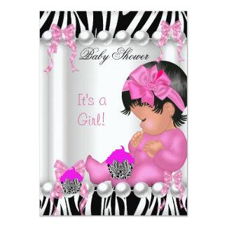 Cute Baby Shower Girl Pink Zebra cupcake 4.5x6.25 Paper Invitation Card
