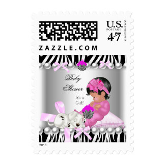 Cute Baby Shower Girl Pink Zebra Postage