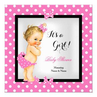 Cute Baby Shower Girl Pretty Pink Black Blonde Card