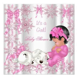 Cute Baby Shower Girl Pretty Pink Snowflakes Personalized Invite