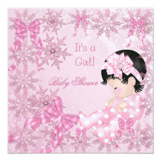 Cute Baby Shower Girl Pretty Pink Snowflakes Roses 5.25x5.25 Square Paper Invitation Card