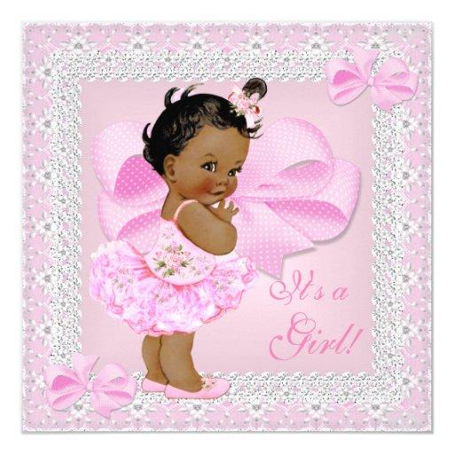 cute baby shower girl pretty pink tutu ethnic invitation zazzle