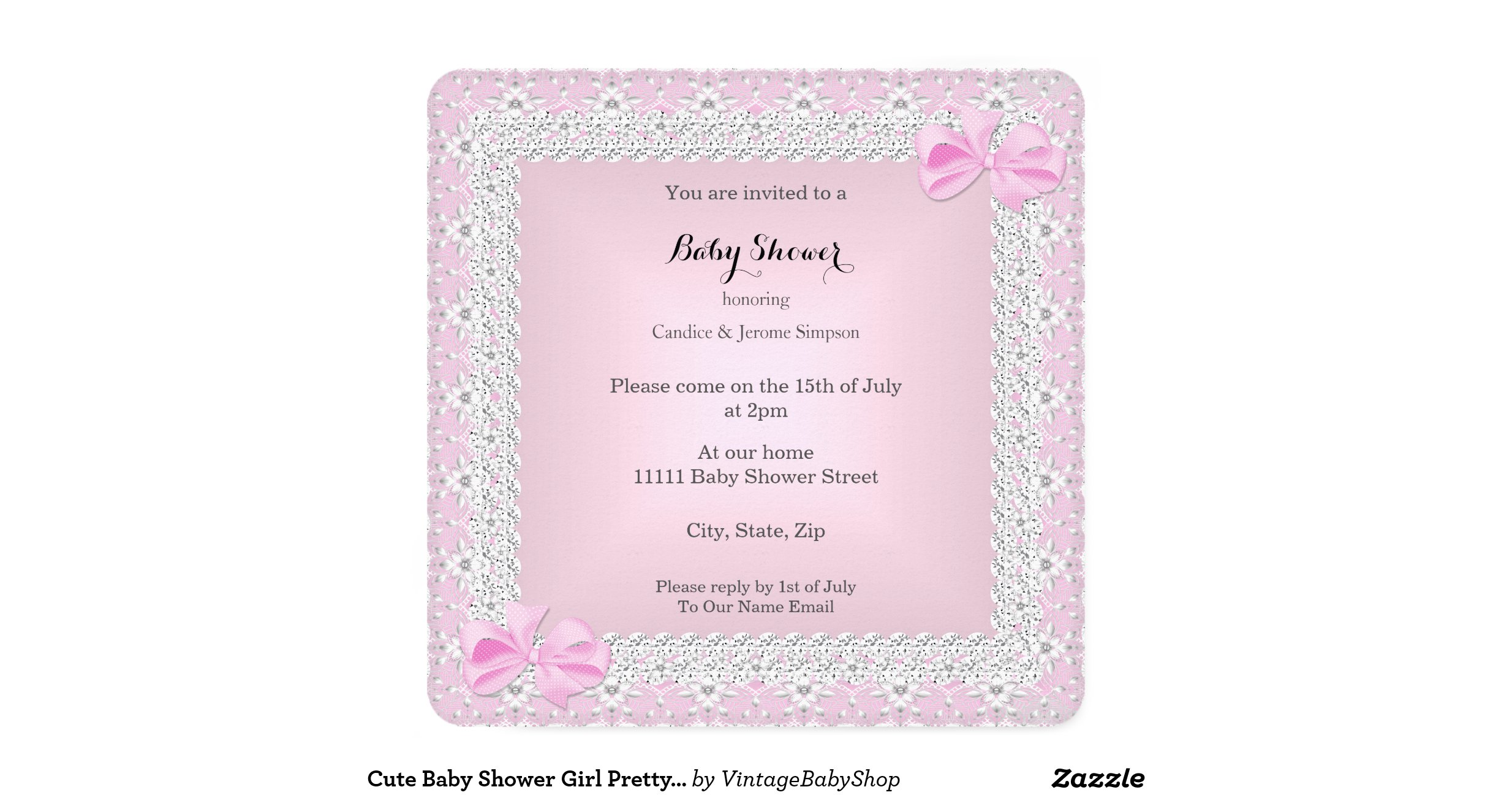 cute baby shower girl pretty pink tutu ethnic invitation