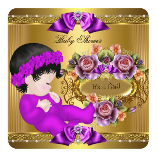 Cute Baby Shower Girl Purple Pink Gold Roses 5.25x5.25 Square Paper Invitation Card