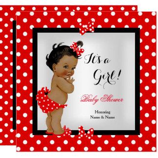 Cute Baby Shower Girl Red Black Ethnic Card