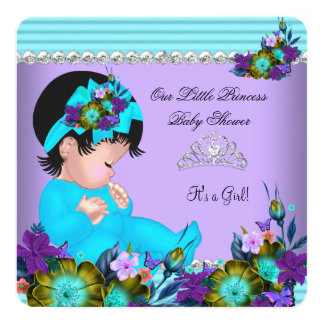 Cute Baby Shower Girl Teal Blue Purple Card