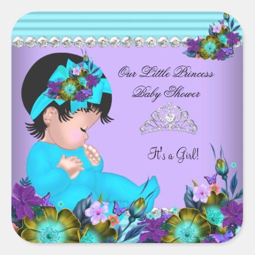 cute baby shower girl teal blue purple square sticker zazzle