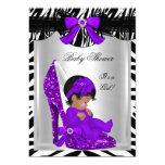 Cute Baby Shower Girl Zebra Purple Baby Shoe 2 5x7 Paper Invitation Card