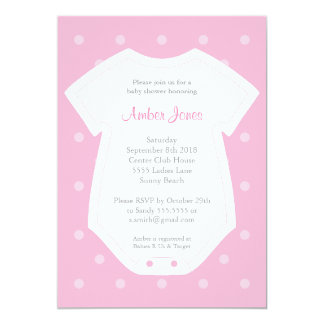 Cute Baby Shower Invitation in Pink for a Girl