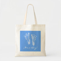 Cute Baby Shower Its a Boy Blue Baby Footprints Tote Bag