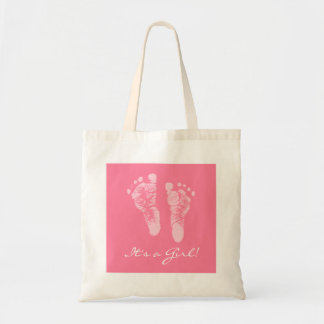 Cute Baby Shower Its a Girl Pink Baby Footprints Budget Tote Bag