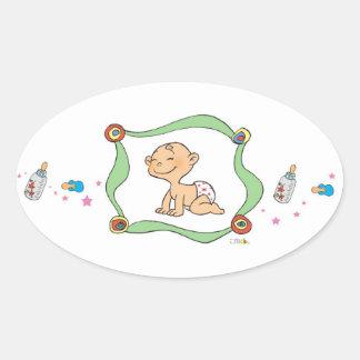 Cute baby shower oval sticker