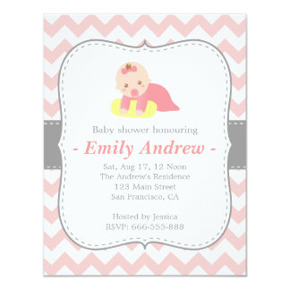 Cute Baby Shower, Pink and White Chevron 4.25x5.5 Paper Invitation Card