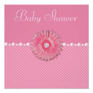 Cute Baby Shower Pink Gebera Pearls Hearts Custom Announcements