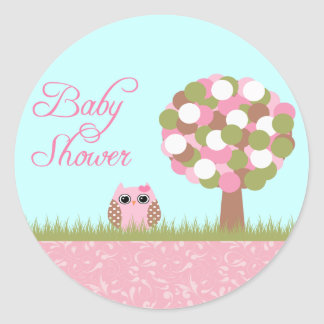 Cute baby shower pink owl and tree stickers