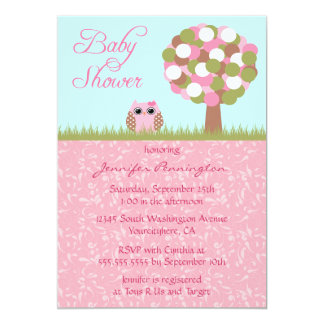 Cute baby shower pink owl tree party invitation