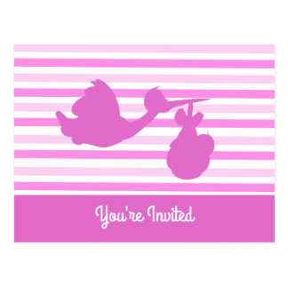 Cute Baby Shower Pink Striped Girl with Stork Postcard