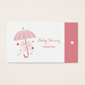 Cute Baby Shower Pink Umbrella Thank You Hang Tags