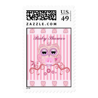 Cute Baby shower postage with babgygirl Owl