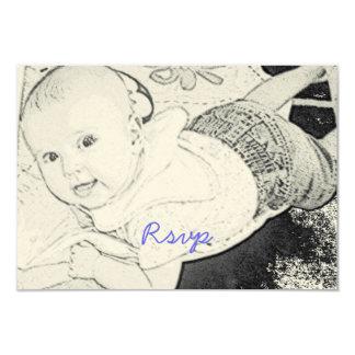 Cute Baby Shower Rsvp blue print Card