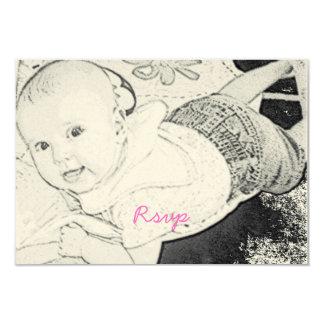 Cute Baby Shower Rsvp pink script Card