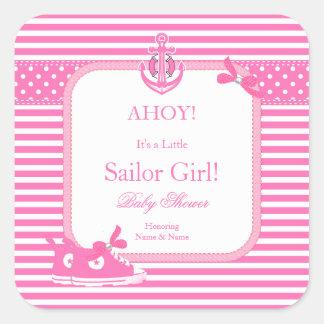 Cute Baby Shower Sailor Girl Pink White Stripe Square Sticker