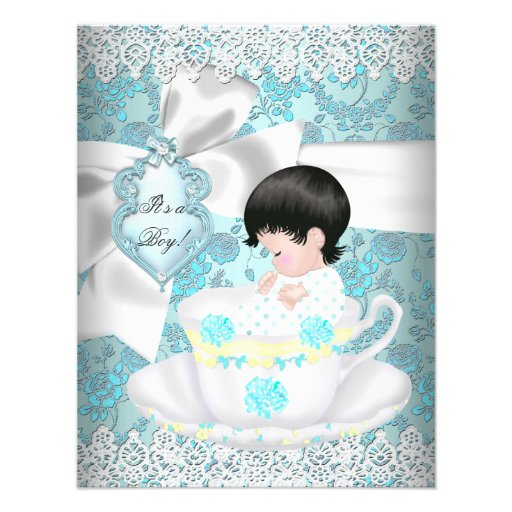 Cute Baby Shower Teal Boy or Girl Invitations