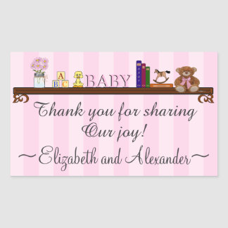 Cute Baby Shower Thank You In Pink Rectangular Sticker