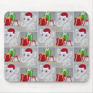 Cute Baby Silver White Elephant Santa Hat Presents Mouse Pad