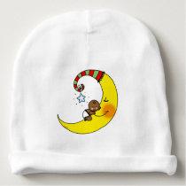 cute baby sleeping on yellow moon nursery baby beanie