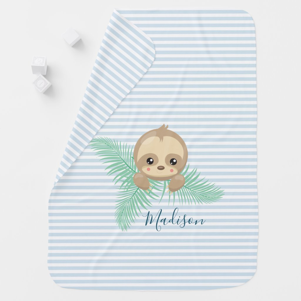 Cute Baby Sloth Baby Monogram Baby Blanket