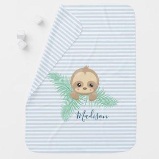 Cute Baby Sloth Baby Monogram Baby Blanket
