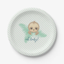 Cute Baby Sloth Baby Shower Party Paper Plates