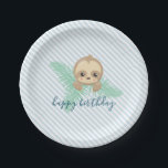 "Cute Baby Sloth Birthday Party Paper Plates<br><div class=""desc"">Stylish and adorable,  these Cute Baby Sloth Birthday Party Paper Plates are customizable for a kid&#39;s birthday party or a baby shower.</div>"