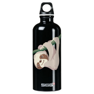 Cute Baby Sloth on a Branch Aluminum Water Bottle