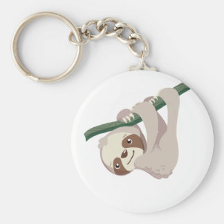 Cute Baby Sloth on a Branch Basic Round Button Keychain