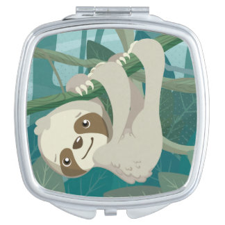Cute Baby Sloth on a Branch Makeup Mirror