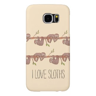 Cute Baby Sloths Hanging on Treebranch Pattern Samsung Galaxy S6 Cases