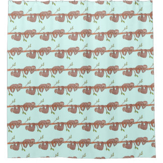 Cute Baby Sloths Hanging on Treebranch Pattern Shower Curtain