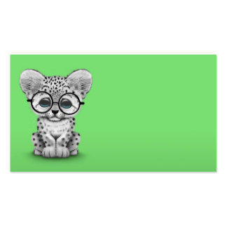 Cute Baby Snow Leopard Cub on Green Double-Sided Standard Business Cards (Pack Of 100)