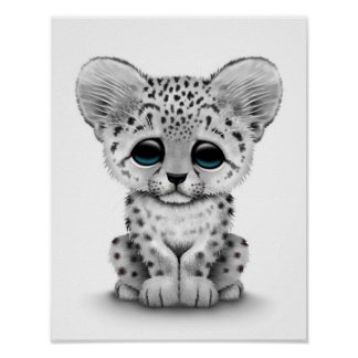 White Snow Leopard Posters | Zazzle