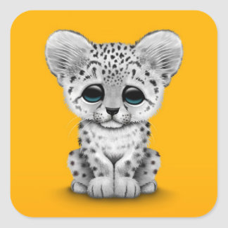 Cute Baby Snow Leopard Cub on Yellow Square Sticker